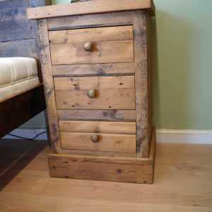 Reclaimed Rough Sawn 3 Drw Bedside